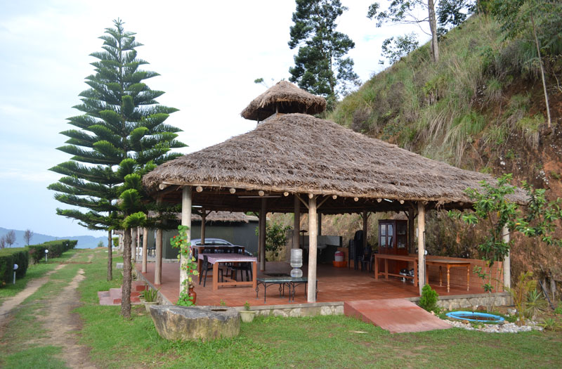 The common Gazebo at the Anaerangal Camp at Munnar